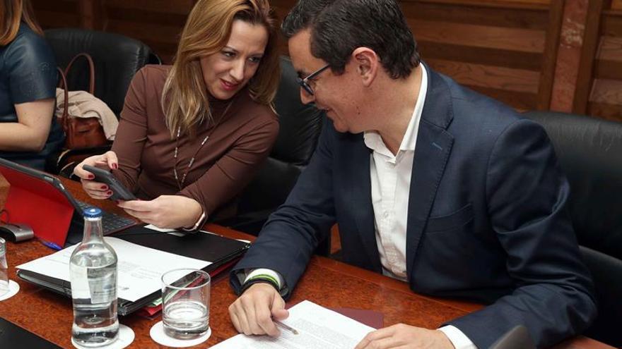 El vicepresidente del Gobierno de Canarias, Pablo Rodríguez, y la consejera de Hacienda, Rosa Dávila, durante la reunión del consejo de Gobierno.
