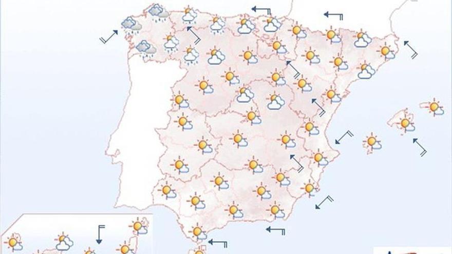 Mañana, más calor en Cantábrico, las mesetas y en el interior sur peninsular