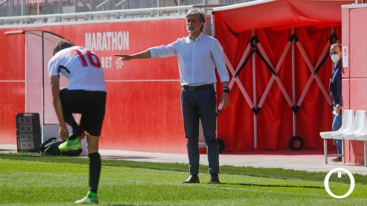 Pablo Alfaro, durante el encuentro ante el Sevilla Atlético.