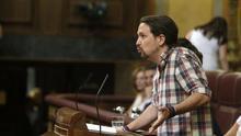 Pablo Iglesias, en la tribuna del Congreso este viernes.