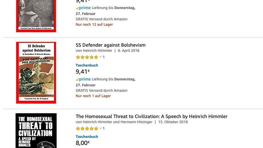 Libros de temática nazi que se pueden comprar en Amazon.