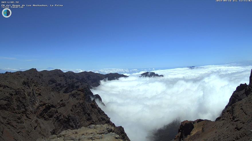 Nubes este jueves la cumbres de La Palma. Imagen captada de la webcam de Sky Live TV del IAC en el Roque de Los Muchachos (Garafía).