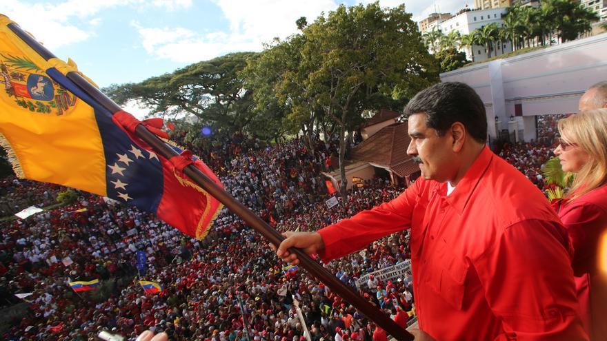 Nicolás Maduro tras su discurso en el Palacio de Miraflores en Venezuela.