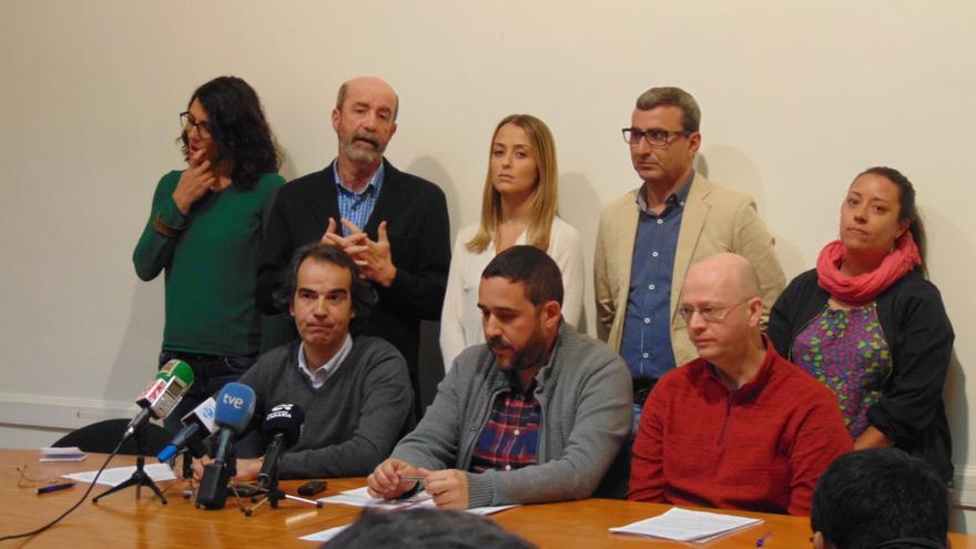 Ediles que este lunes dieron la rueda de prensa en La Laguna