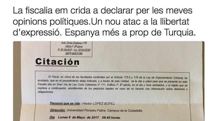 Citación de la Fiscalía a Hèctor López Bofill