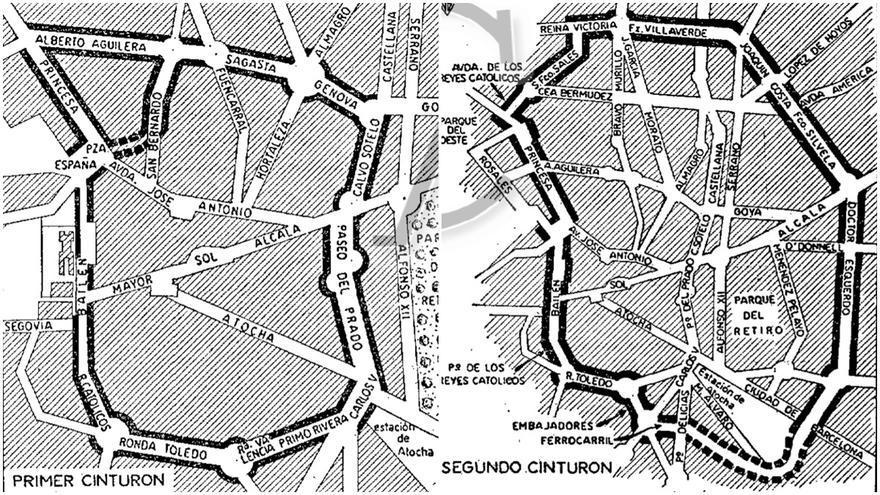 El primer y el segundo cinturón de Madrid, según el planeamiento de 1967