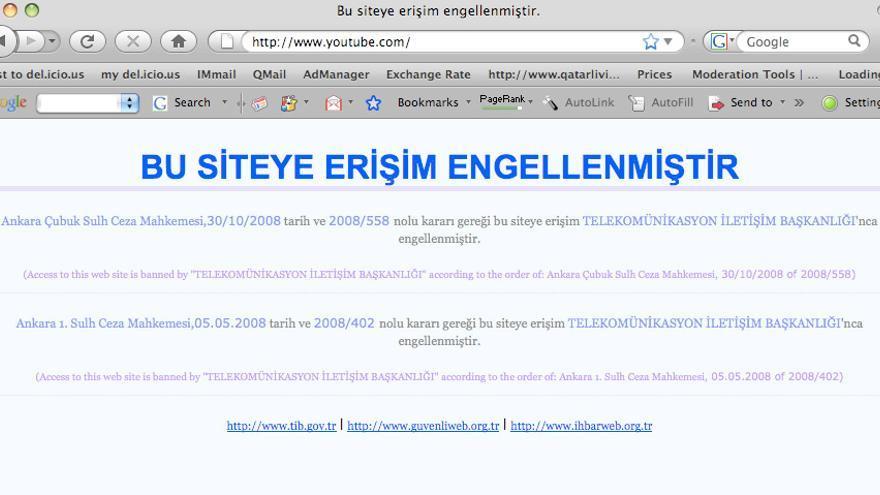 Captura de pantalla del bloqueo de YouTube en Turquía en 2008.