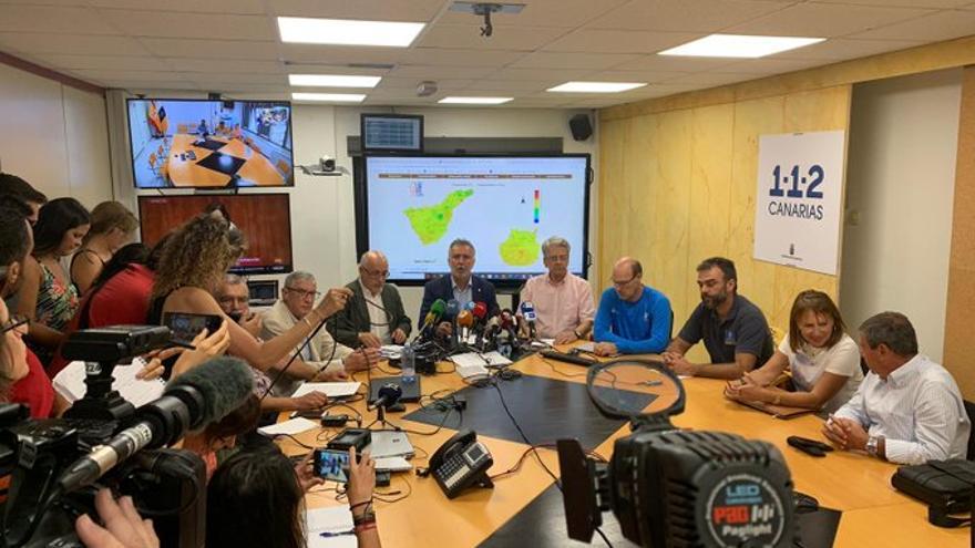 Rueda de prensa para informar sobre la evolución del incendio en Gran Canaria de este martes 13 de agosto.