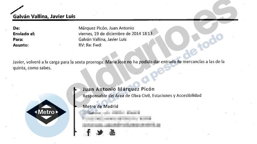Correo electrónico en el que un cargo de Metro intenta agilizar el pago de una sexta prórroga