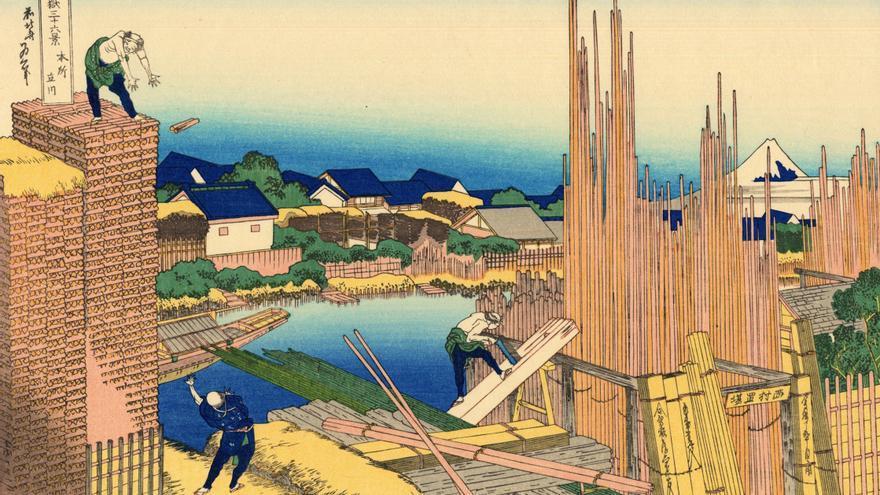 'Honjo Tatekawa, almacén de madera en Honjo', grabado adicional nº 2 de 'Treinta y seis vistas sobre el monte Fuji'