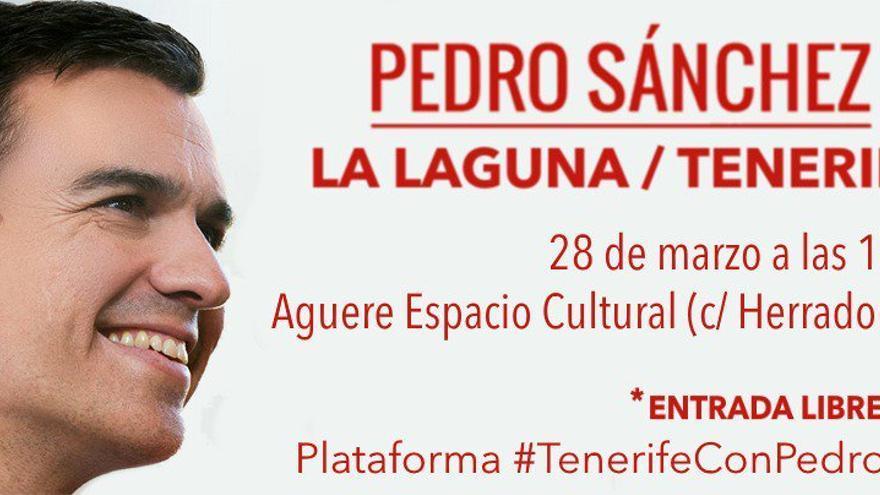 Convocatoria del acto de Pedro Sánchez en Tenerife.