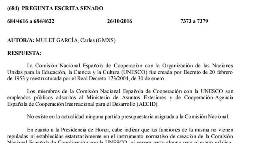 Respuesta del Gobierno al senador Carles Mulet