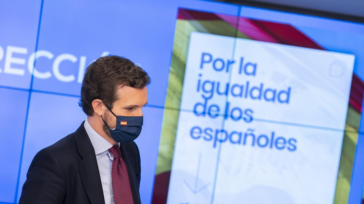 El presidente del Partido Popular, Pablo Casado, esta semana.