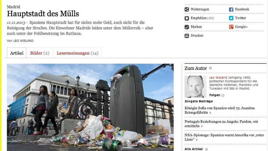 Reportaje del Frankfurter Allgemeine Zeitung sobre la huelga de basuras en Madrid.