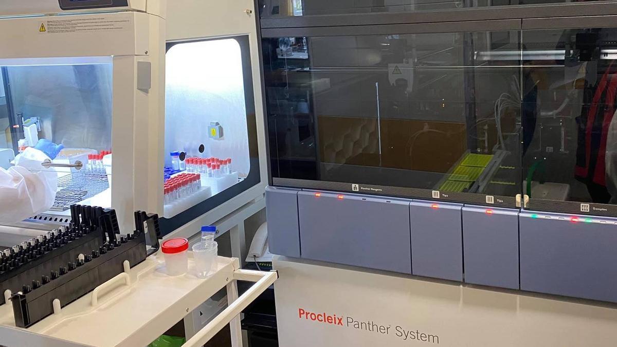 Área de realización de PCR del Hospital General de La Palma.