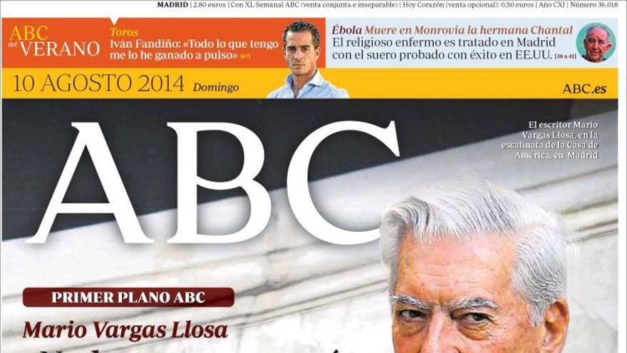 Portada de ABC dedicada a Vargas Llosa y Catalunya.