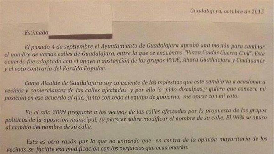 Carta de disculpas de alcalde de Guadalajara