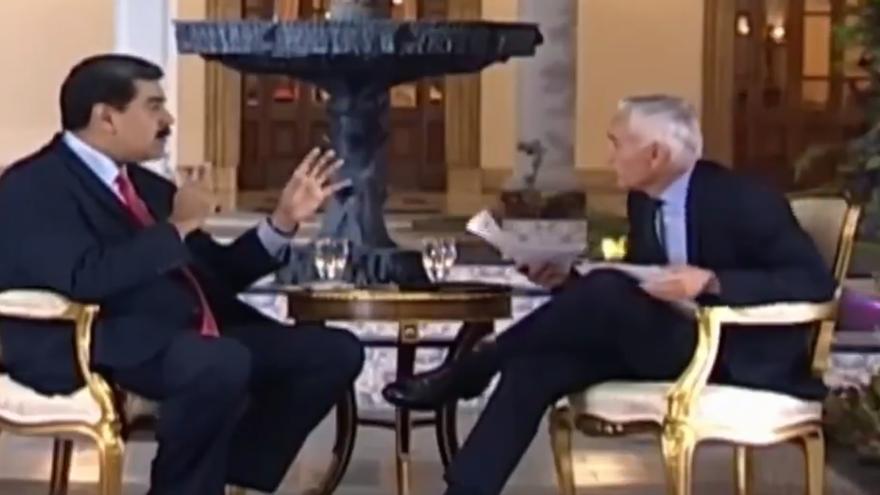 Un momento de la entrevista entre Nicolás Madruro y Jorge Ramos