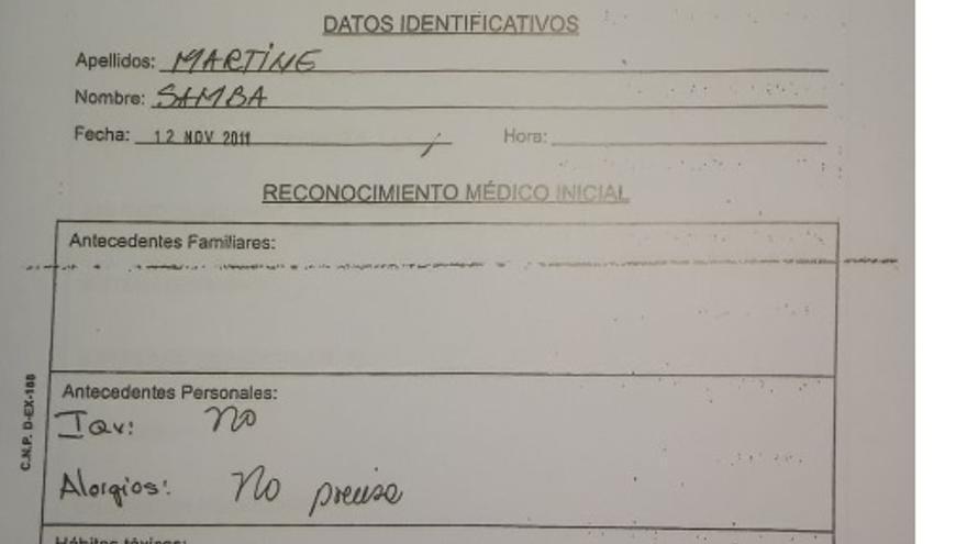 Parte médico inicial de Samba Martine.