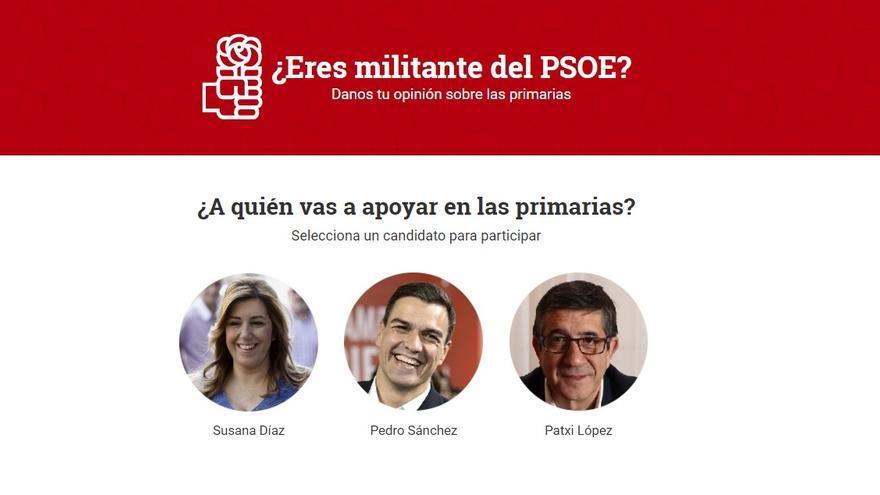 Encuesta a los militantes del PSOE sobre su voto en las primarias.