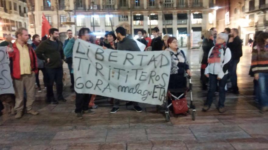 Manifestación en apoyo en Málaga a los titiriteros detenidos en Madrid