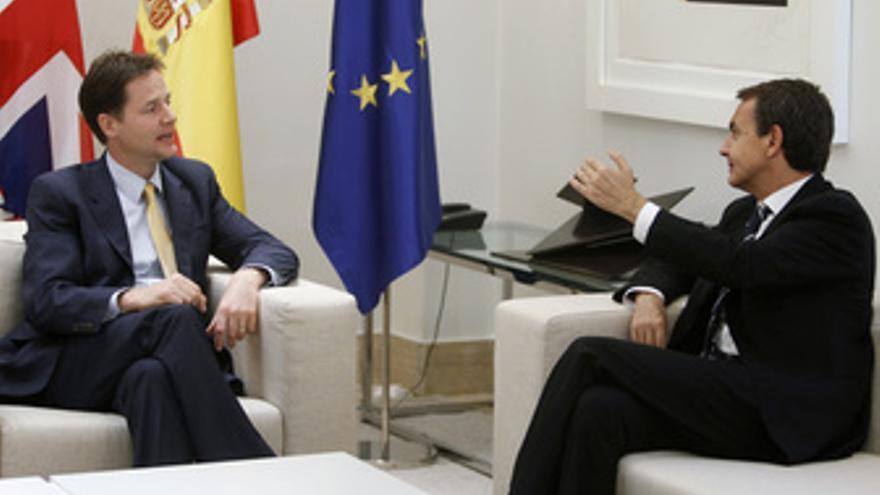 Nick Clegg y Zapatero en Moncloa