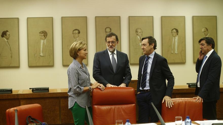 Rajoy obvia la Diada y el 'caso Soria' en la reunión del Grupo Popular, donde ningún diputado tomó la palabra