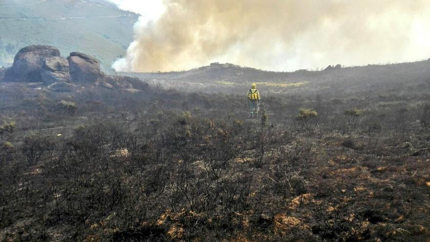 Un brigadista trabaja en una zona arrasada por el fuego en Arbo (Pontevedra)