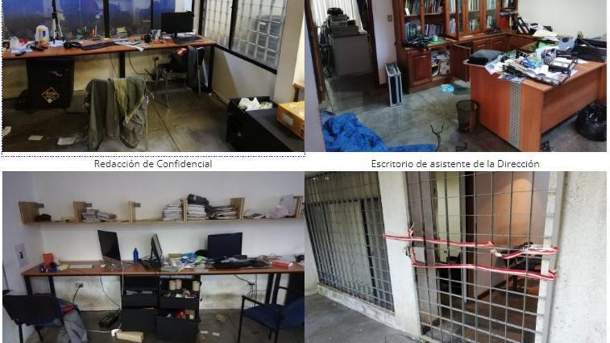 Redacción del diario digital nicaragüense Confidencial tras la intrusión de la policía nacional