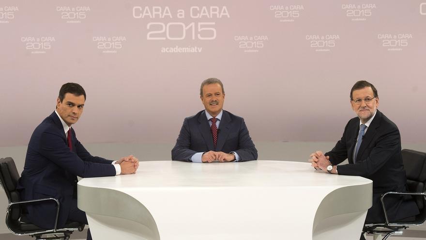 """Sánchez dice que el PP va a recortar a la mitad las pensiones y Rajoy replica: """"No le acepto lo de los recortes"""""""