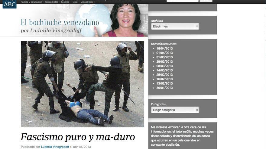 Blog de abc.es en el que se 'ilustra' el fascismo venezolano con una foto de Egipto.