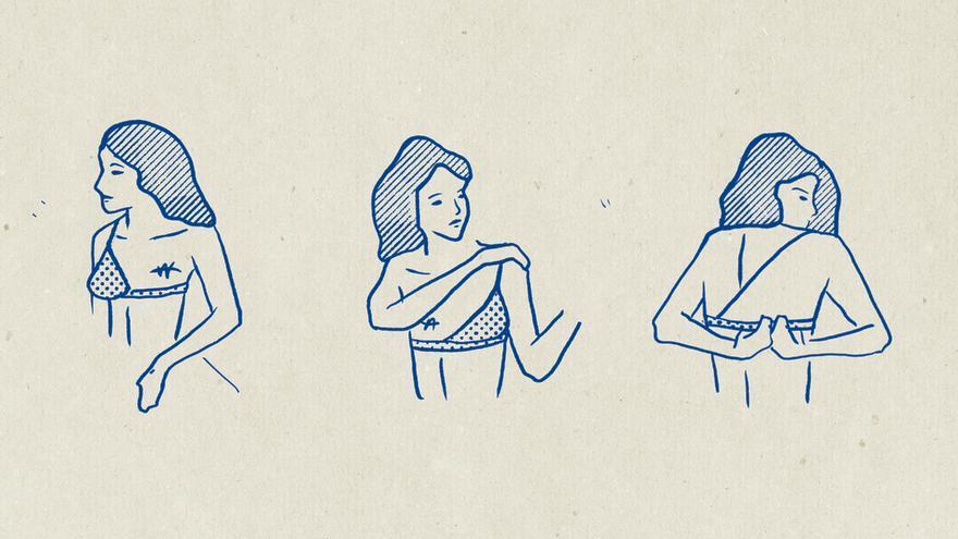 Bocetos de Lola, el sujetador postmastectomía de una sola copa