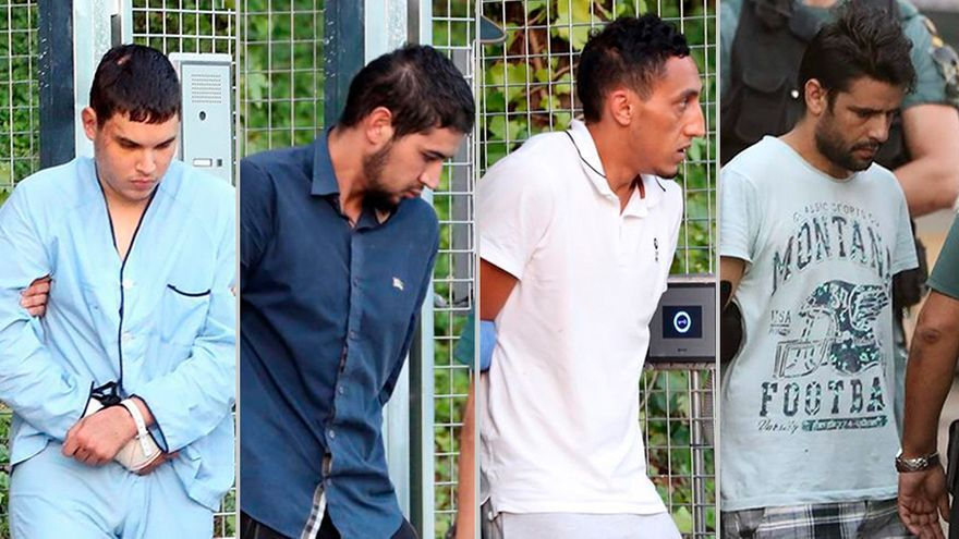 Los cuatro detenidos por los atentados de Cataluña.