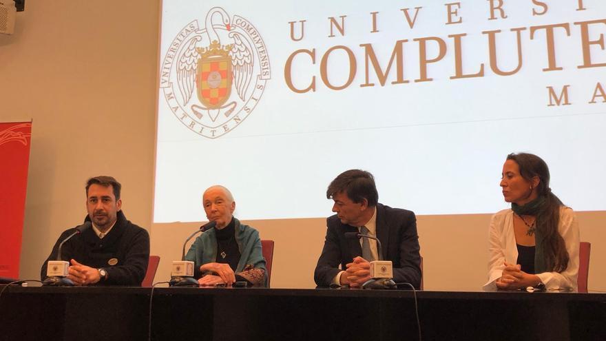 El director del Instituto Jane Goodall España, Federico Bogdanowicz; Jane Goodall; el rector de la UCM, Carlos Andradas; y la directora del Instituto Jane Goodall en el Congo, Rebeca Atencia