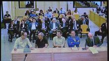 Vista del monitor habilitado en la sala de prensa de la Audiencia Nacional que facilita la señal institucional del juicio por la salida a Bolsa de Bankia.