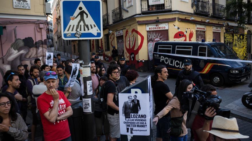 Imagen de la protesta ante el desahucio de Argumosa.