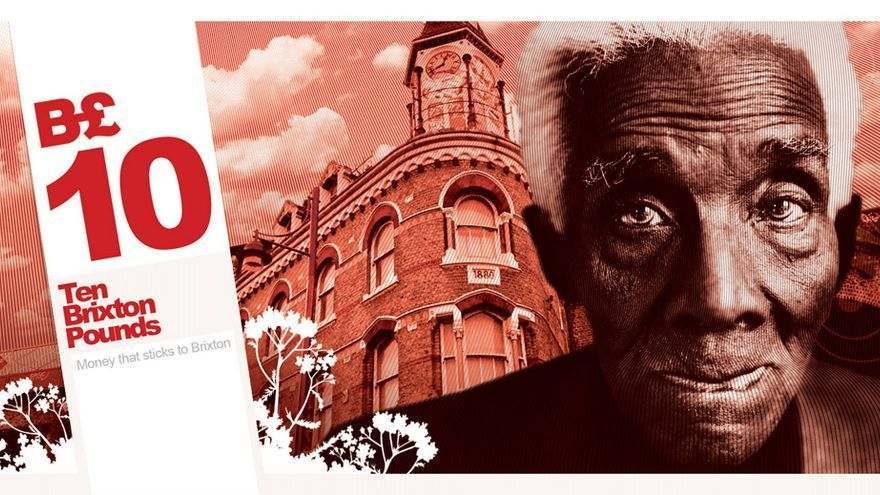 Billete de 10 Brixton Pounds, una moneda social del distrito londinense de Brixton. Fuente: ComplementaryCurrency.org