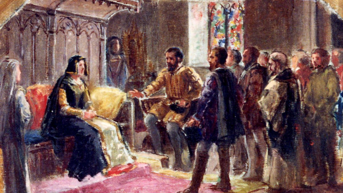 """Boceto de Eugenio Oliva para el fresco """"Los comuneros visitando a doña Juana"""""""
