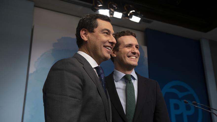 Juan Manuel Moreno y Pablo Casado, durante un acto en la sede nacional del PP.