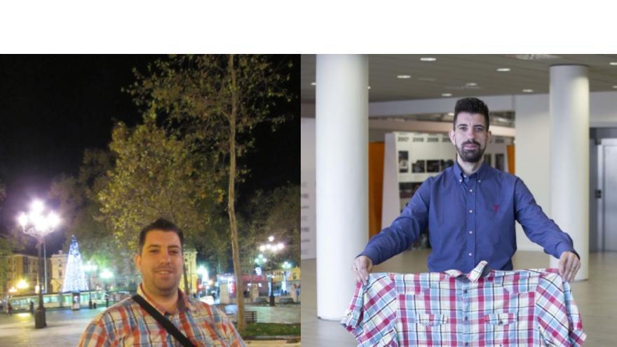 Federico Luis Moya antes y después de operarse con un peso de 183 y 83 Kilos respectivamente.