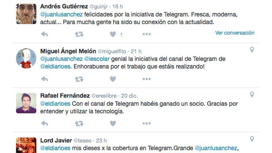 Tuits felicitando la cobertura electoral en Telegram
