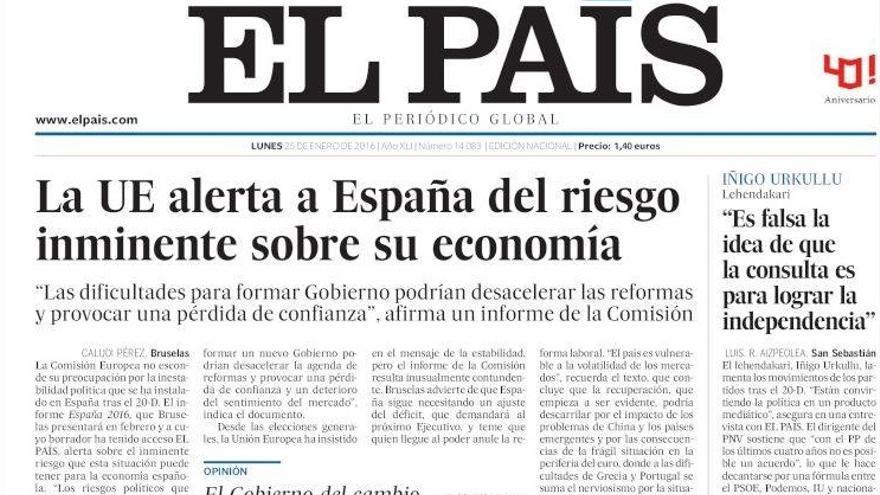 Portada de El País del lunes 25 de enero.