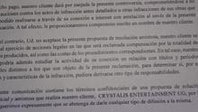 Detalle de la carta recibida por Manuel Rubio, en el que se le exige que se abstenga de revelar el contenido de la misma.