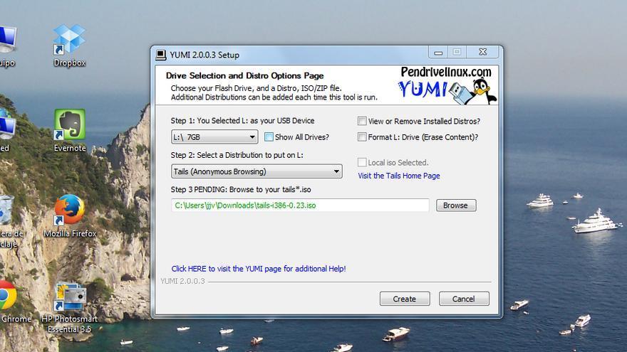Montar imagen ISO en USB Tails