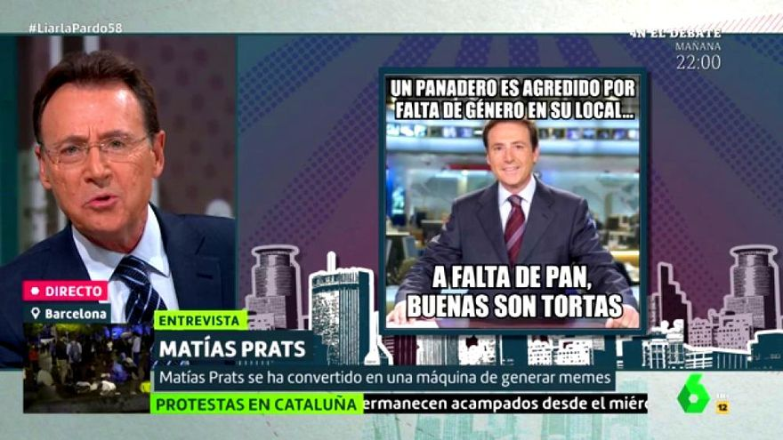 Matías Prats lee sus propios memes como si fueran noticias en 'Liarla Pardo'