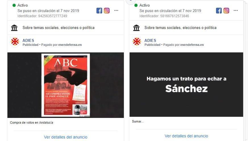 Dos de los anuncios que Adies ha publicado en la recta final de la campaña del 10N.
