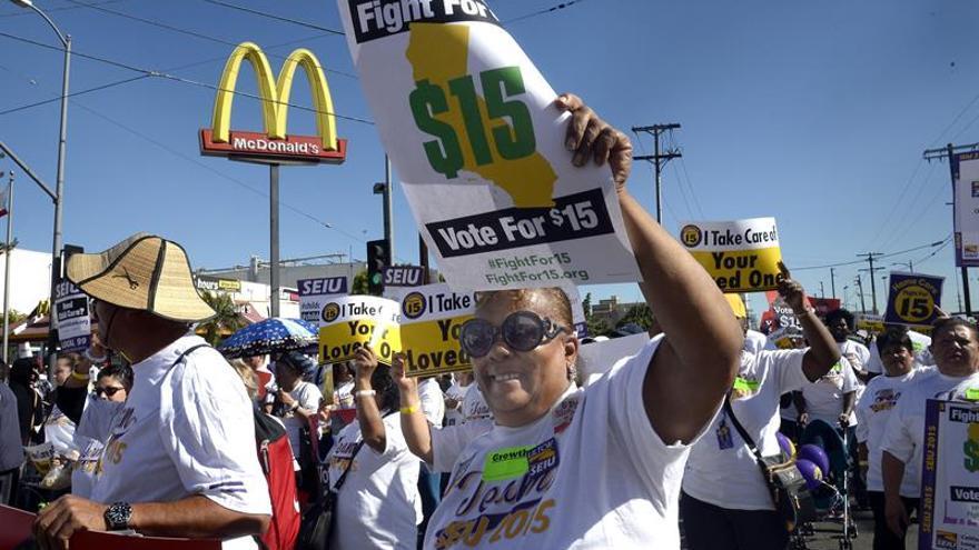 Protestas en el día de lucha por un salario de 15 dólares/hora en EE.UU.