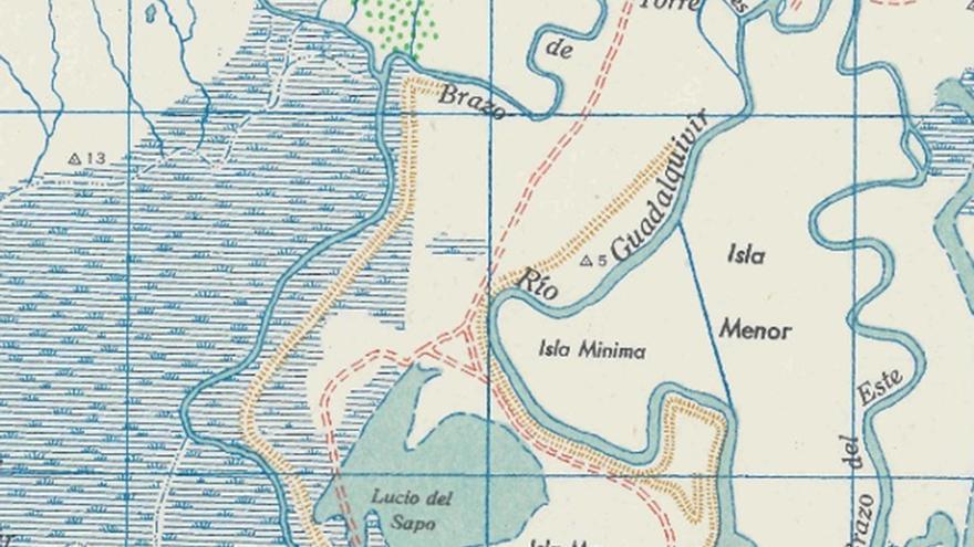 Representación de las islas del Guadalquivir. / U.S. Army Map M581