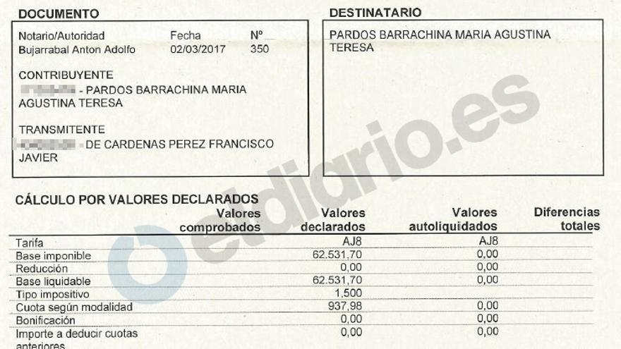 El impuesto de actos jurídicos documentados que le reclaman a Teresa Pardos, pese a que el premio fuera libre de cargas