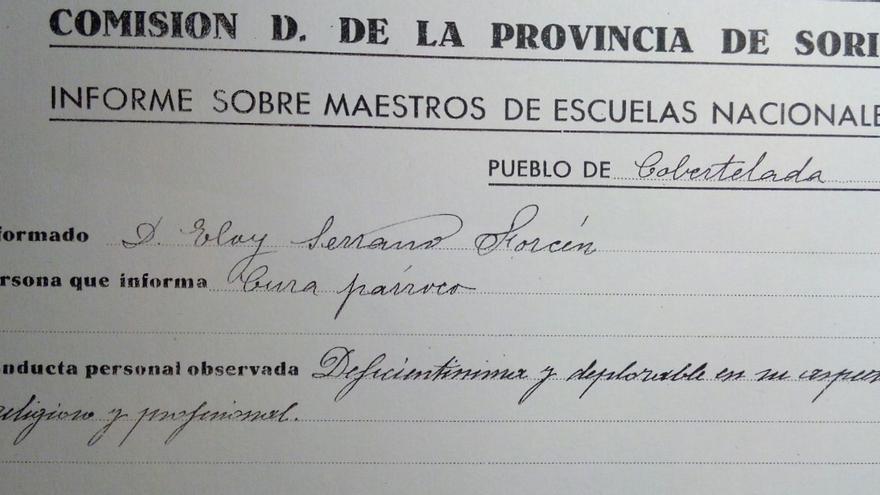 Detalle del testimonio del cura párroco de Cobertelada sobre Eloy Serrano / FOTO: Daniel Rodríguez Castro